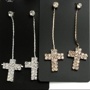 Gold or Silver tone Cross drop earrings